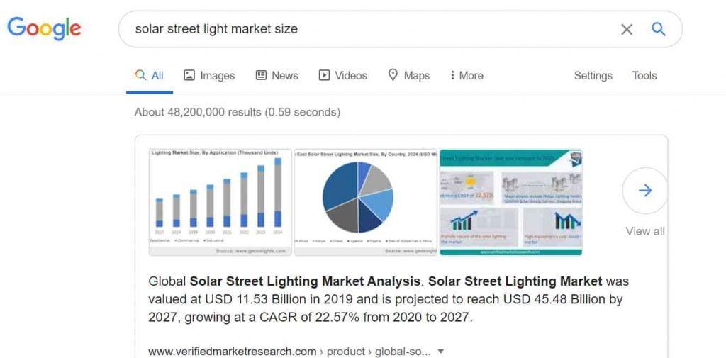 solar street light market size